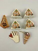 Bethany Lowe Lot  7 Gingerbread Palm Cake Icecream Cone Christmas Ornaments New