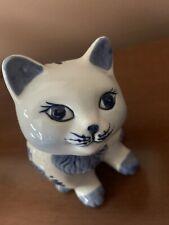 Delfts Blauw Hand Painted Porcelain Cat Piggy Bank #207 Cute!