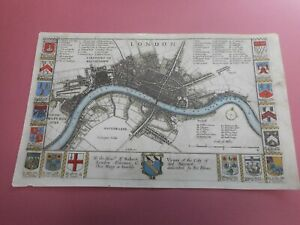100% ORIGINAL CITY OF LONDON MAP BY R BLOME C1679 VGC LOW UK POST HAND COLOURED