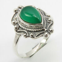 Green Onyx Vintage Style Ring Size 7.5 Solid Sterling Silver Modern New Jewelry