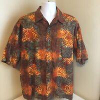 Johari West Mens Hawaiian Aloha Camp Shirt 2XL XXL 100% Cotton Tribal Geometric
