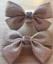 2 Girls Lovely Silver Sparkly Handmade Ribbon Hair Bows / Clasps / Clips