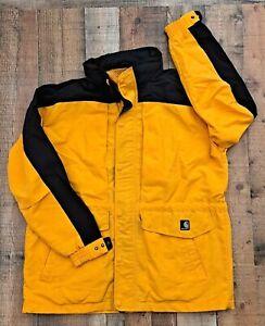Men's Carhartt Workshield Mesh Lined Parka Jacket Coat C48 Yellow Black Large L