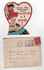 1931 Valentine'S Day Vintage Greeting Card Valentine Hearts Love Mask Humor