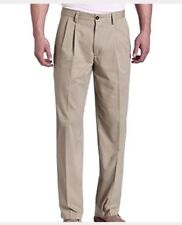 Dockers NEW Beige Gray Mens 42X30 Double Pleated Khakis Chinos Pants $50