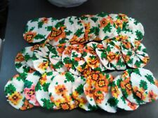 Vintage Fabric Cotton Material Yoyos for Quilting -Lot of 30-orange floral print