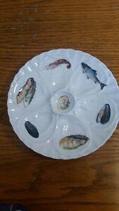 Pillivuyt~ Oyster Plate~ French Transferware~ Porcelain, 6 well