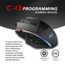 Zelotes C13 Gaming Mouse 10000 DPI 13 Programmable Buttons RGB LED Light Mice