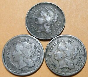 United States 3 x 3 cent Pieces 1866 1867 1868 Grades As Pictures.
