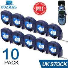 More details for 10pk compatible dymo letratag refill white plastic 91201 label tape 12mm lt-100h