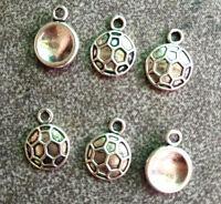 30pcs Tibetan Silver Round Soccer Sports Charms Pendants Jewelry Beads