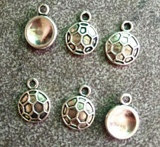 30pcs Tibetan Silver Round Soccer Sports Charms Pendants Jewelry Beads