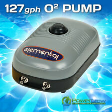 Air Pump 127 gph Elemental O2 Pump - Aquarium Hydroponics Aquaponics Pond