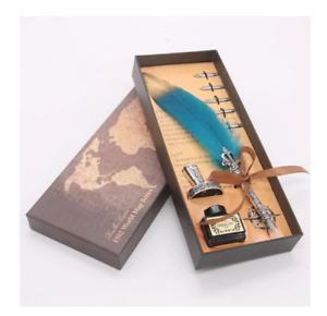 Vintage Feather Dip Pen Gift Box Set Nib Ink Bottle Quill Pen Holder Calligraphy