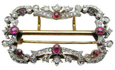 3.67ct ROSE CUT DIAMOND RUBY ANTIQUE VICTORIAN LOOK 925 SILVER BROOCH PIN