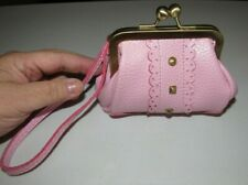 PINK FAUX LEATHER BIG CHUNKY LACE FRONT STUDDED WRIST-LET KISS LOCK COIN PURSE