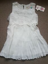 Yumi Girl Ivory 3D Floral and Pearl Pleated Dress Age 5-6