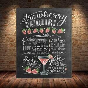 Strawberry Daiquiri COCKTAIL RECIPE METAL SIGN Bar Cafe beer garden man cave