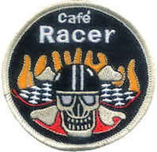 Iron On/ Sew On Embroidered Patch Badge Cafe Racer Skull