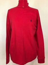 RALPH LAUREN Red Polo Neck Jumper M Sweater Plain Cotton Knit Autumn Turtle