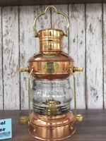 Copper Anchor Oil Lamp ~ Nautical Maritime Ship Lantern ~ Boat Light