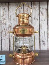 Copper Anchor Oil Lamp ~ Nautical Maritime Ship Lantern ~ Boat Light