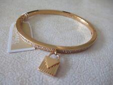 NWT Michael Kors Color Crush Gold Tone Pave Stone Bangle Bracelet/ Charm -$125