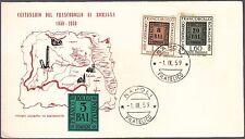 ITALIA BUSTA FDC GU.SA. 1959 100° FRANCOBOLLO ROMAGNE  ANNULLO NAPOLI