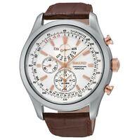 Seiko Men's SPC129P1 Neo Classic Alarm Perpetual Chrono Brown Leather Watch