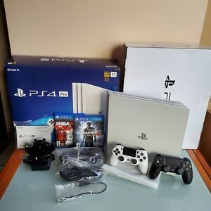 PlayStation 4 Pro White 1TB PS4 CIB w/ 2 Controllers, 2 Games + Charging Station