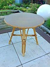 Table basse ronde en rotin vintage années 60