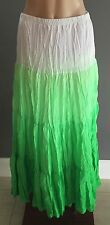 Hippy Chic MISS ANNE Fluro Green & White Crinkle Pleat Tier Maxi Skirt Size 8