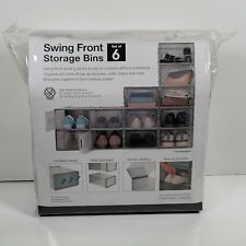 Swing Front Shoe Storage Bins (Set of 6) - Shoe and Craft Organizer