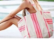 VICTORIA SECRET SUN AND FUN TOTE Duffle BAG Swim Pink and White Striped Beach *