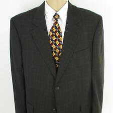 46 R Paul Dione Brown Plaid Pure Wool 2 Btn Mens Jacket Sport Coat Blazer Mint