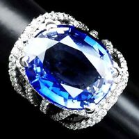 VIOLET BLUE TANZANITE RING 26CT.SAPPHIRE 925 STERLING SILVER JEWELRY RING SZ 5.5