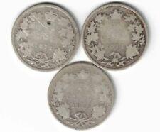 3 X CANADA 25 CENT QUARTERS QUEEN VICTORIA 925 SILVER COIN 1872H 1874H 1883H