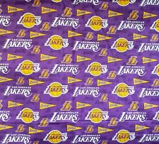 LA Lakers Purple w/Pennants Cotton- 1/4 yard (9