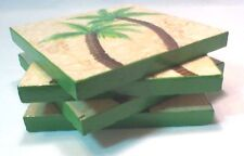 Hand Painted Tile Coasters with Palm Trees