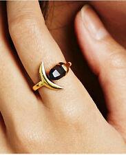 18K Gold Plated Brass Moon Purple Quartz Natural stone Cocktail Ring JZ0276