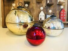 Pottery Barn Ornament Candle Large Gold Medium Silver Small Red Christmas Decor