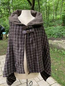 Ralph Lauren Wool Blend Brown Tweed Wrap Cape Poncho Buckle Plaid Check