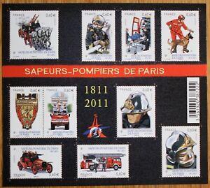 1 bloc-feuillet (10 timbres neufs) - Sapeurs-Pompiers de Paris - Bicentenaire