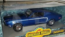 1/18 ERTL AMERICAN MUSCLE 1968 FORD MUSTANG COBRA JET BLUE od