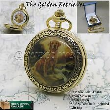 "Golden Retriever Gold Pocket Watch Large Brass Case 47 mm + 14"" Fob Chain C54"