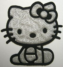 5 pcs Lovely Black Silvery hello Kitty Cat Iron on Patches iron-on applique un#