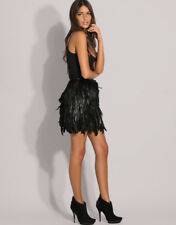 BNWT Black Iridescent Cocque Rooster Long Feather Lined Skirt AU12