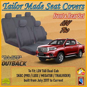 Grey Canvas Seat Covers for LDV T60 (SK8C) Dual Cab: from 07/2017 to Current