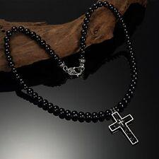 Halskette Onyx Perlen Edelstein mit Kreuz Anhänger Edelstahl Kette Rosenkranz
