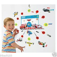 Disney Cars Tick Tock Teller Vinyl Wall Clocks 50 Wall Sticker Glow In The Dark